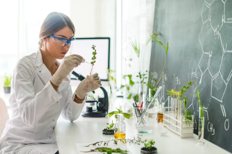 Woman-scientist-with-plant